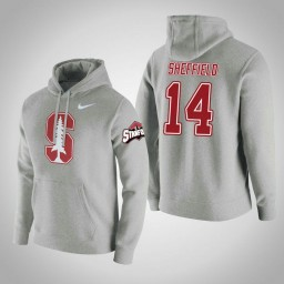 Stanford Cardinal #14 Marcus Sheffield Men's Gray College Basketball Hoodie