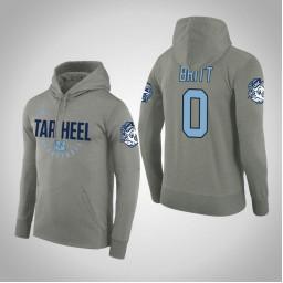 North Carolina Tar Heels #0 Nate Britt Men's Gray College Basketball Hoodie