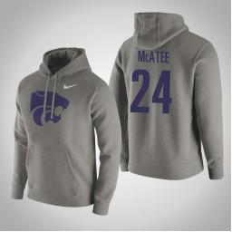 Kansas State Wildcats #24 Pierson McAtee Men's Gray Pullover Hoodie