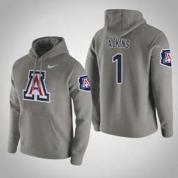 Arizona Wildcats #1 Rawle Alkins Men's Gray Pullover Hoodie