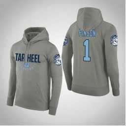North Carolina Tar Heels #1 Theo Pinson Men's Gray College Basketball Hoodie