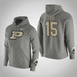 Purdue Boilermakers #15 Tommy Luce Men's Gray Pullover Hoodie
