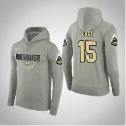 Purdue Boilermakers #15 Tommy Luce Men's Gray College Basketball Hoodie