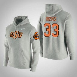 Oklahoma St Cowboys #33 Trey Reeves Men's Gray College Basketball Hoodie