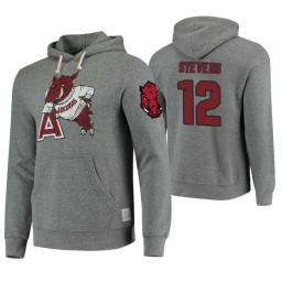 Arkansas Razorbacks #12 Ty Stevens Men's Gray College Basketball Hoodie