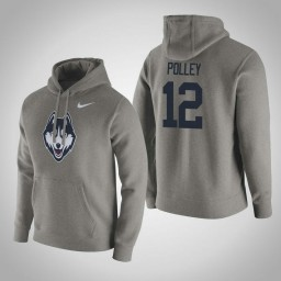 Uconn Huskies #12 Tyler Polley Men's Gray Pullover Hoodie