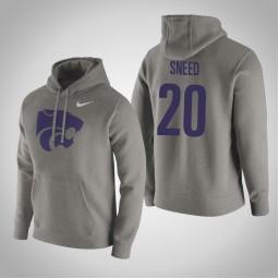 Kansas State Wildcats #20 Xavier Sneed Men's Gray Pullover Hoodie