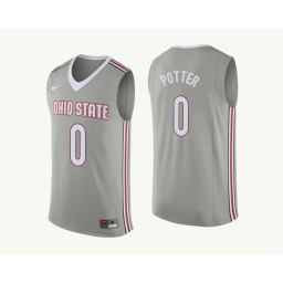 Women's Ohio State Buckeyes #0 Micah Potter Authentic College Basketball Jersey Gray