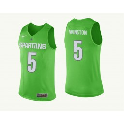 Michigan State Spartans #5 Cassius Winston Authentic College Basketball Jersey Green