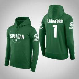 Michigan State Spartans #1 Joshua Langford Men's Green College Basketball Hoodie