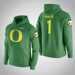 Oregon Ducks #1 Kenny Wooten Men's Green College Basketball Hoodie