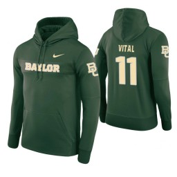 Baylor Bears #11 Mark Vital Men's Green Pullover Hoodie