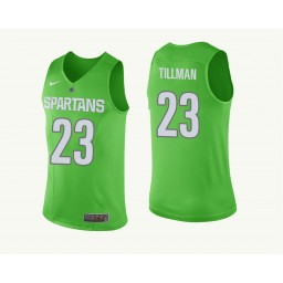 Youth Michigan State Spartans #23 Xavier Tillman Authentic College Basketball Jersey Green