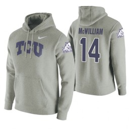 TCU Horned Frogs #14 Angus McWilliam Men's Heathered Gray College Basketball Hoodie