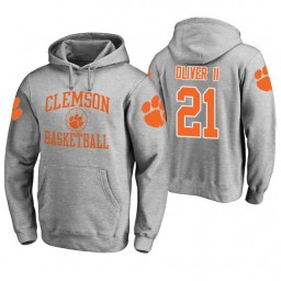 Clemson Tigers #21 Anthony Oliver II Men's Heathered Gray College Basketball Hoodie