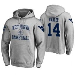 West Virginia Mountaineers #14 Chase Harler Men's Heathered Gray College Basketball Hoodie