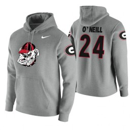 Georgia Bulldogs #24 Connor O'Neill Men's Heathered Gray College Basketball Hoodie