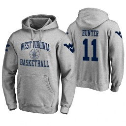 West Virginia Mountaineers #11 D'Angelo Hunter Men's Heathered Gray College Basketball Hoodie