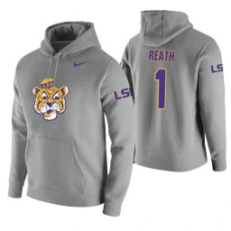 LSU Tigers #1 Duop Reath Men's Heathered Gray College Basketball Hoodie