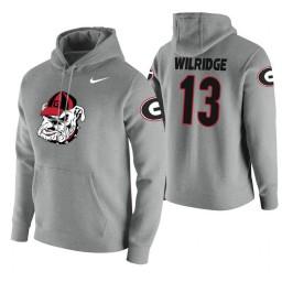 Georgia Bulldogs #13 E'Torrion Wilridge Men's Heathered Gray College Basketball Hoodie