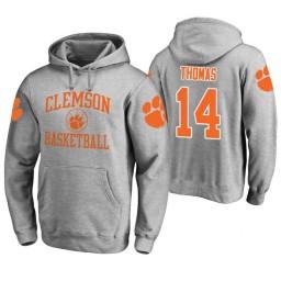 Clemson Tigers #14 Elijah Thomas Men's Heathered Gray College Basketball Hoodie
