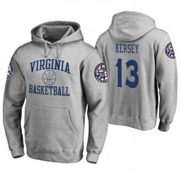 Virginia Cavaliers #13 Grant Kersey Men's Heathered Gray College Basketball Hoodie