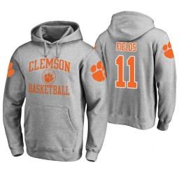Clemson Tigers #11 Isaac Fields Men's Heathered Gray College Basketball Hoodie