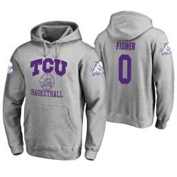TCU Horned Frogs #0 Jaylen Fisher Men's Heathered Gray College Basketball Hoodie