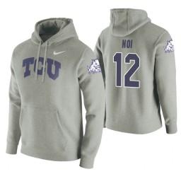 TCU Horned Frogs #12 Kouat Noi Men's Heathered Gray College Basketball Hoodie