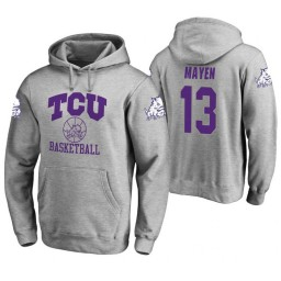 TCU Horned Frogs #13 Lat Mayen Men's Heathered Gray College Basketball Hoodie