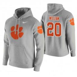 Clemson Tigers #20 Malik William Men's Heathered Gray College Basketball Hoodie