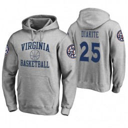 Virginia Cavaliers #25 Mamadi Diakite Men's Heathered Gray College Basketball Hoodie