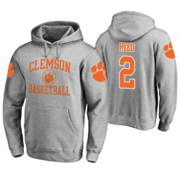 Clemson Tigers #2 Marcquise Reed Men's Heathered Gray College Basketball Hoodie