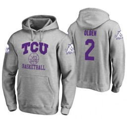 TCU Horned Frogs #2 Shawn Olden Men's Heathered Gray College Basketball Hoodie