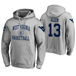 West Virginia Mountaineers #13 Teddy Allen Men's Heathered Gray College Basketball Hoodie