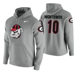 Georgia Bulldogs #10 Teshaun Hightower Men's Heathered Gray College Basketball Hoodie