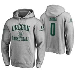 Oregon Ducks #0 Troy Brown Men's Heathered Gray College Basketball Hoodie