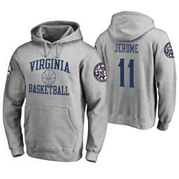 Virginia Cavaliers #11 Ty Jerome Men's Heathered Gray College Basketball Hoodie