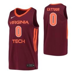Women's Virginia Tech Hokies #0 Hunter Cattoor Maroon Authentic College Basketball Jersey