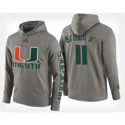 Miami Hurricanes #11 Bruce Brown Jr. Gray Hoodie College Basketball