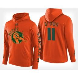 Miami Hurricanes #11 Bruce Brown Jr. Orange Hoodie College Basketball
