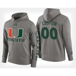 Miami Hurricanes #00 Custom Gray Hoodie College Basketball