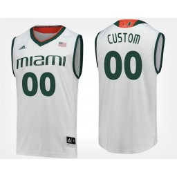 Miami Hurricanes #00 Custom White Road Jersey College Basketball