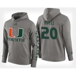 Miami Hurricanes #20 Dewan Huell Gray Hoodie College Basketball