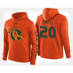 Miami Hurricanes #20 Dewan Huell Orange Hoodie College Basketball