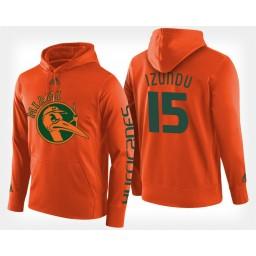 Miami Hurricanes #15 Ebuka Izundu Orange Hoodie College Basketball