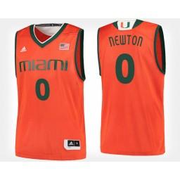 Youth Miami Hurricanes #0 Ja'Quan Newton Orange Home Authentic College Basketball Jersey