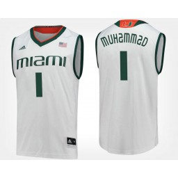 Youth Miami Hurricanes #1 Rashad Muhammad White Road Authentic College Basketball Jersey
