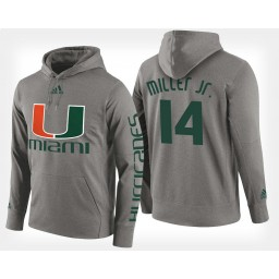 Miami Hurricanes #14 Rodney Miller Jr. Gray Hoodie College Basketball