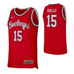 Women's Ibrahima Diallo Authentic College Basketball Jersey Scarlet Ohio State Buckeyes